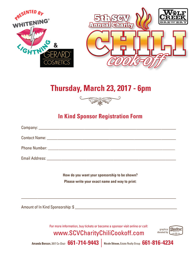 SCV Charity Chili CookOffSCV Charity Chili CookOff Hottest – Charity Sponsor Form